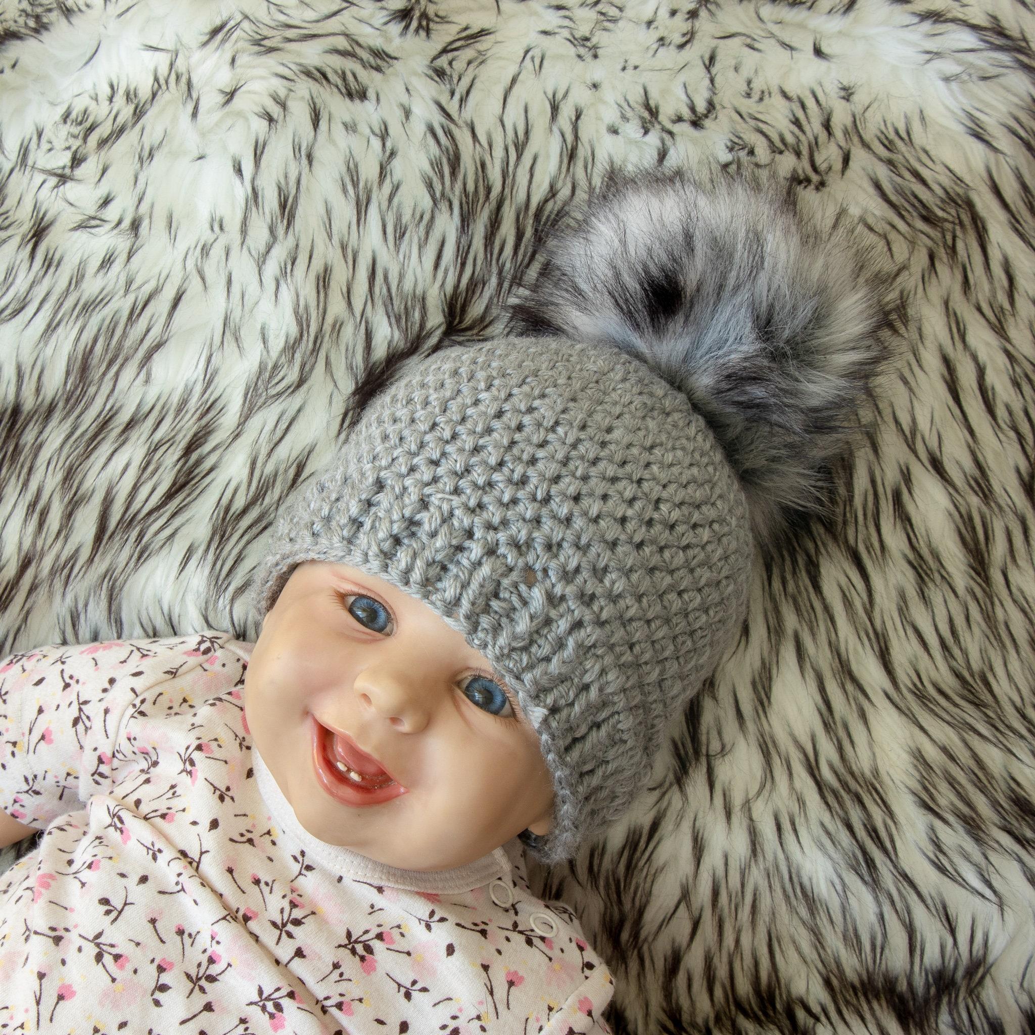 5b4c71e182f Crochet beanie with fur pom pom - Gray Baby hat - Crochet baby hat