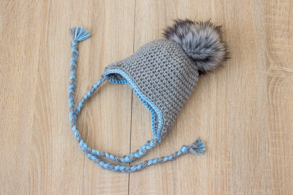 819077dbb23 Gray Baby Boy hat with fur Pom pom - Baby earflap hat - Crochet baby ...