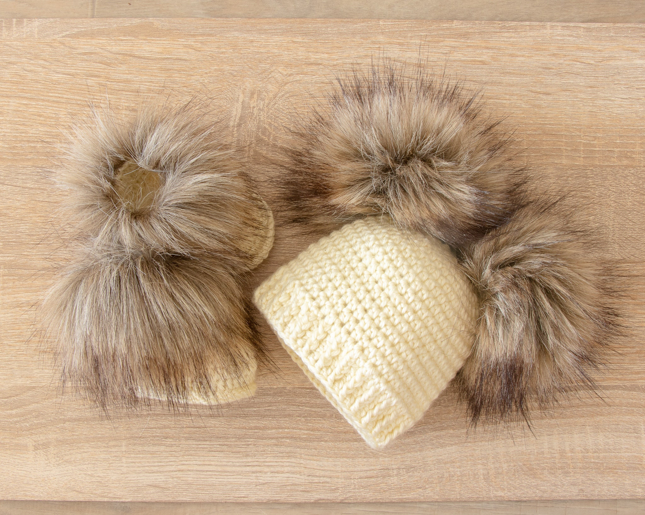 Double pom pom hat and booties - Cream Booties and hat set ... d754af6d631c