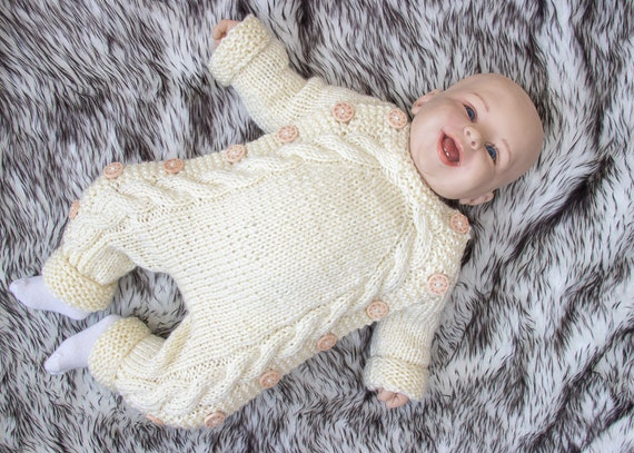 8fe863e4c296 Hand knitted baby jumpsuit Knitted baby outfit Baby