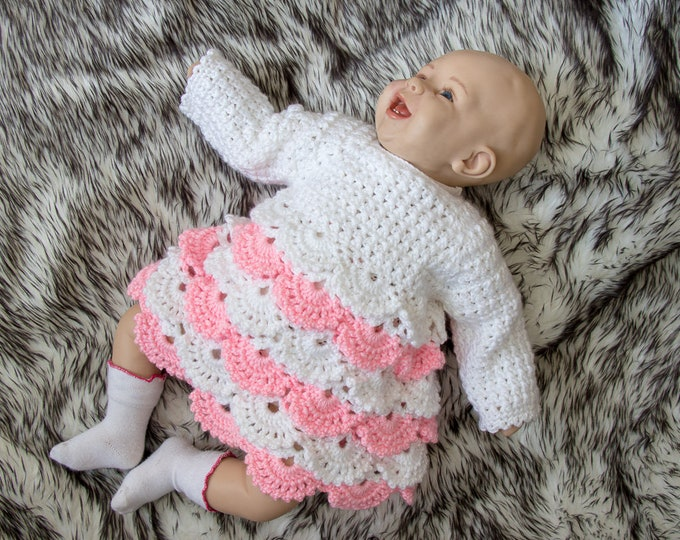 Baby girl dress - Crochet dress - Lace baby dress - Baby girl gift - White and pink dress - Long sleeve dress - Crochet Baby girl Clothes