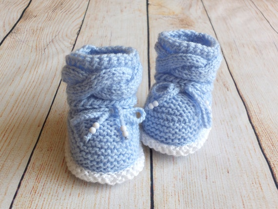 Items similar to Hand knit Baby boy booties - Knitted baby ...
