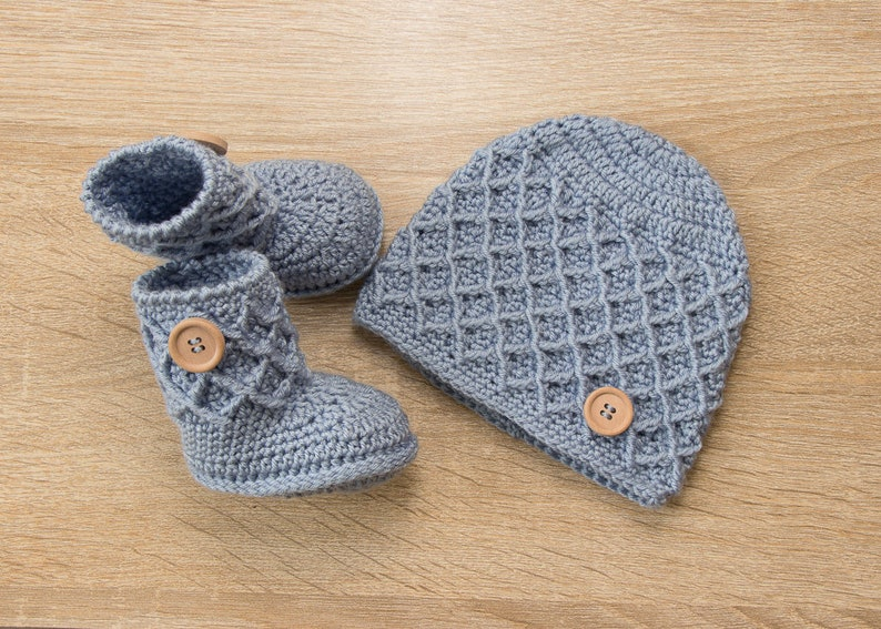 e8e85bd0b Newborn hat and booties set Baby boy beanie and booties Blue | Etsy