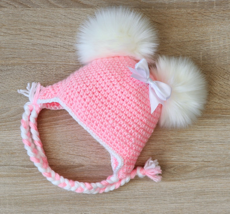 f3bc5b3b0 Pink double pom pom hat with bow, Newborn girl hat, Baby girl hat, Earflap  hat, Crochet baby hat, Fur pom pom Winter hat, Toddler girl hat
