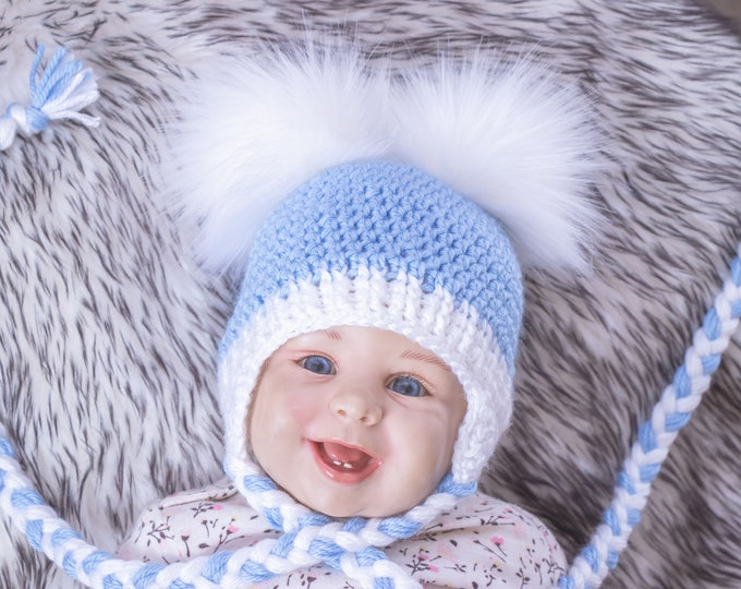 Baby boy hat Double Pom Pom Hat, Baby hat, Earflap hat, Crochet Newborn hat, Toddler boy hat, Winter hat with ear flaps, Baby boy gifts
