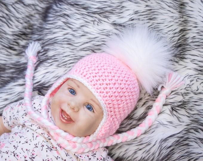 Pink Baby girl with  fur Pom pom, Baby pom hat, Crochet baby girl hat, Newborn girl hat, Earflap hat, Baby winter hat, Preemie girl hat