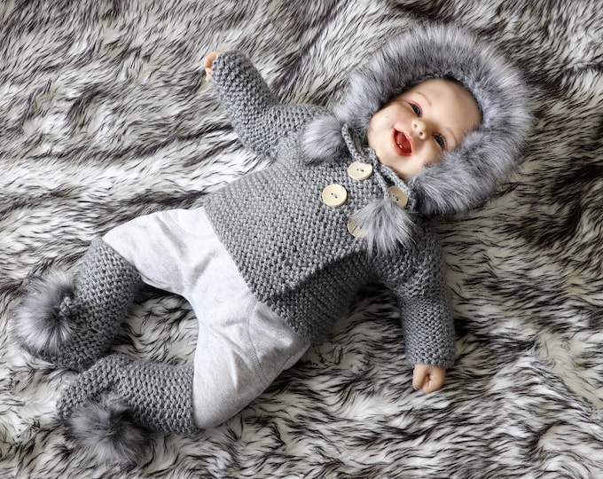 Hand knitted Hooded Baby sweater and pom pom booties - Gray baby outfit - Baby Cardigan - Baby boots- Baby coat- Gender neutral baby clothes