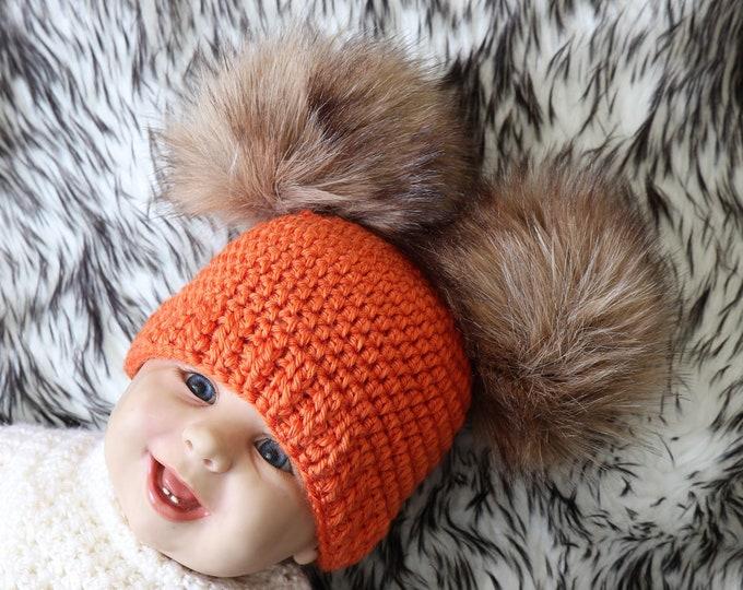 Crochet double pom pom hat- Fur pom pom beanie - Gender neutral baby hat - Winter hat - Halloween Hat - Orange hat- Baby beanie- Crochet hat
