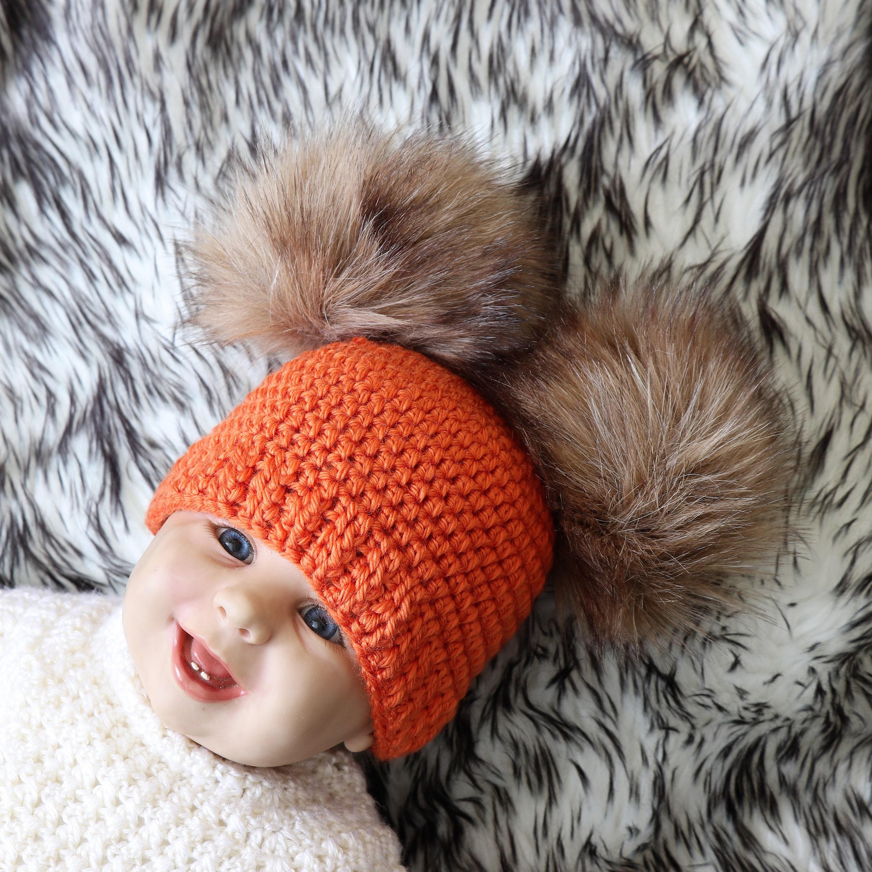 b363959ac2d Crochet double pom pom hat- Fur pom pom beanie - Gender neutral ...
