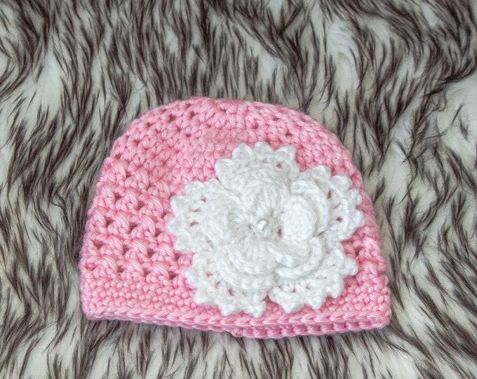 Pink Baby girl flower hat, Baby Flower beanie, Crochet Baby girl hat, Newborn girl hat, Infant Girl Hat, Baby girl gift, Preemie girl hat