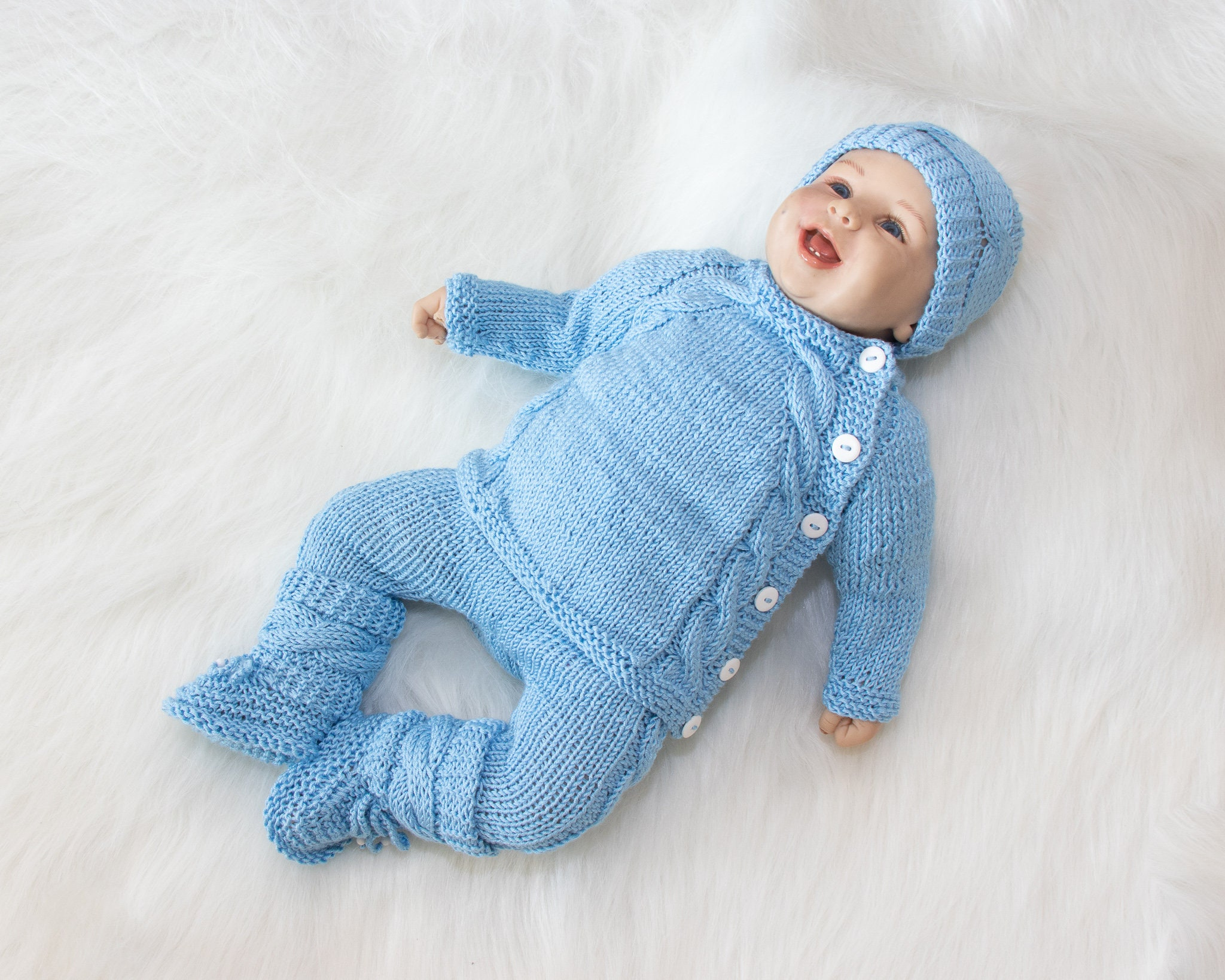 4c9db1c17 0-3 m baby boy coming home outfit, Baby blue outfit, Hand Knit ...