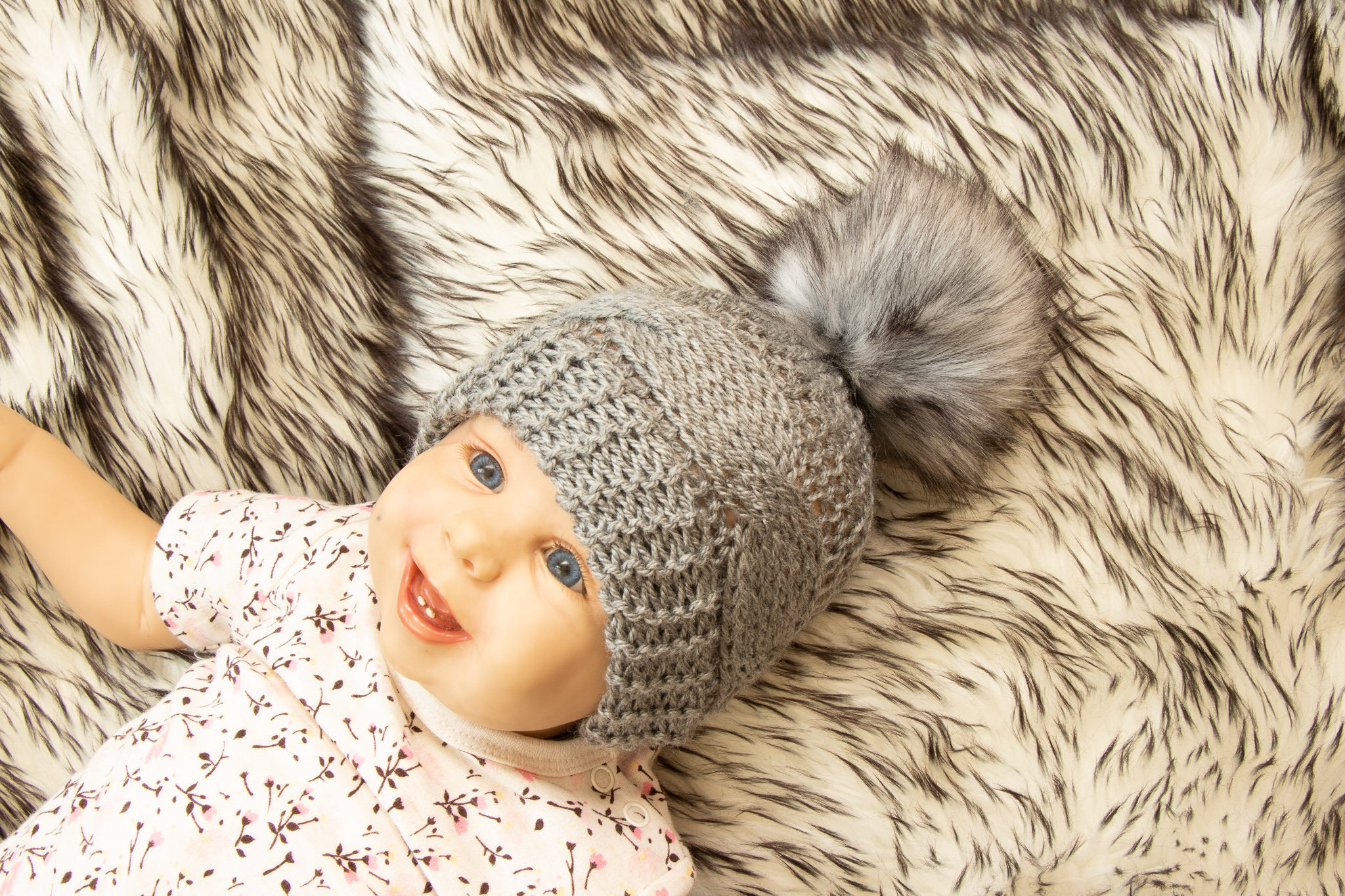 c342c75e3 Gray baby hat - Faux fur pom pom hat - Cable knit hat - Hand knitted ...