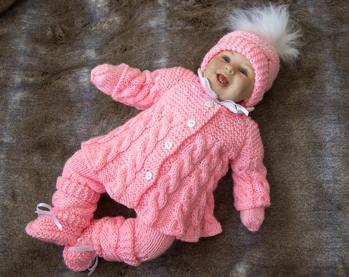 Pink baby girl coming home outfit, Knit Baby clothes, Knit baby girl outfit, Baby knitwear, Baby girl clothes winter, Newborn girl clothes