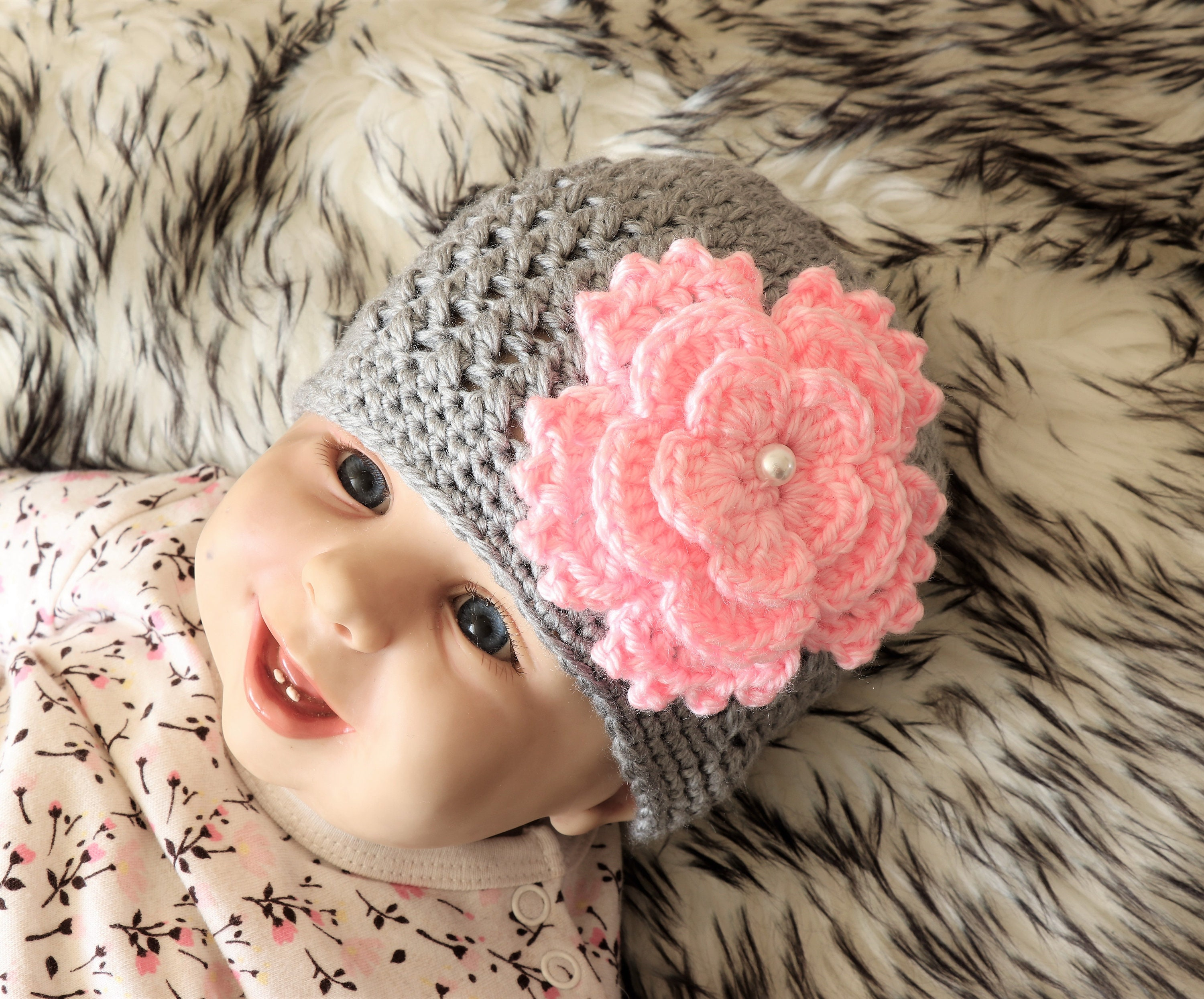 a7eb0a7a0bc Baby girl Flower hat - Crochet Baby hat - Baby girl Hat - Newborn girl hat