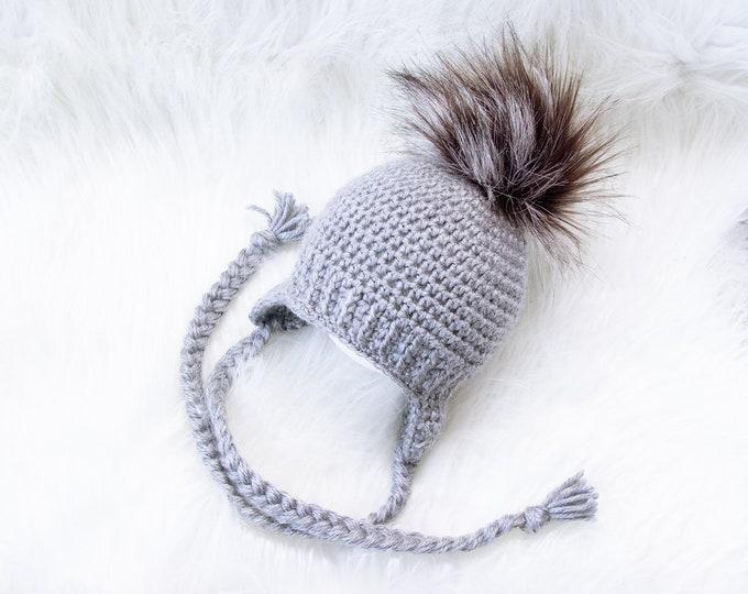 Unisex Baby Hat, Baby Faux fur Pom pom hat, Infant hat, Baby earflap hat, Crochet baby hat, Newborn boy hat, Baby winter hat, Baby boy gift