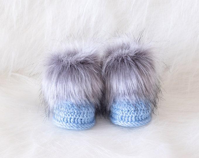 Baby boy booties, Crochet baby Booties, Preemie boy booties, Fur booties, Baby boy shoes, Baby boy gift, Newborn boy booties, New baby gift