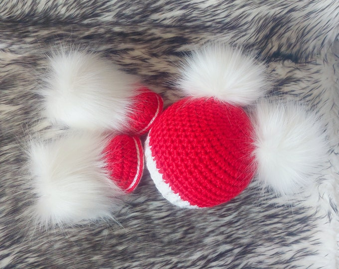 Baby girl hat and booties, Baby girl gift, Fur pom hat, Crochet baby boots, Double pom pom beanie, Newborn girl outfit, Infant shoes and hat