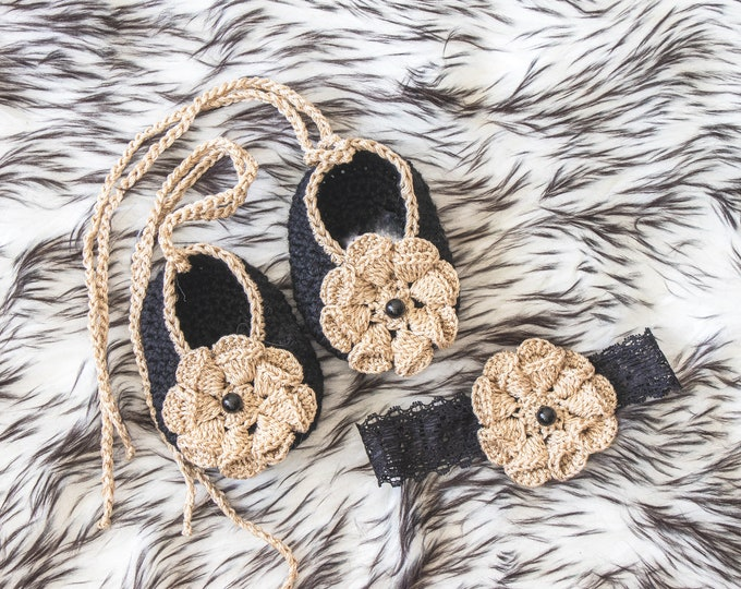 0-3 months Black and gold shoes and headband set, Crochet ballerinas, Newborn headband, Baby girl gift, Baby girl Photo prop, Ready to ship