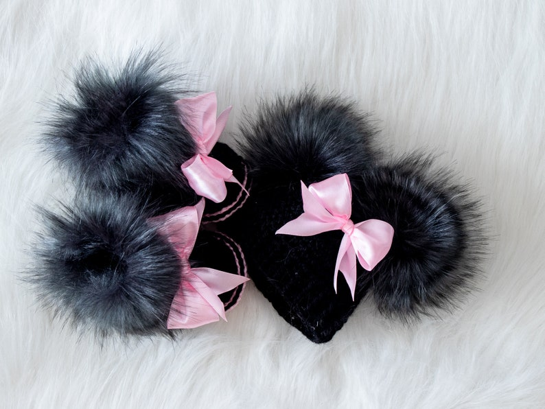 Black and pink baby girl hat and