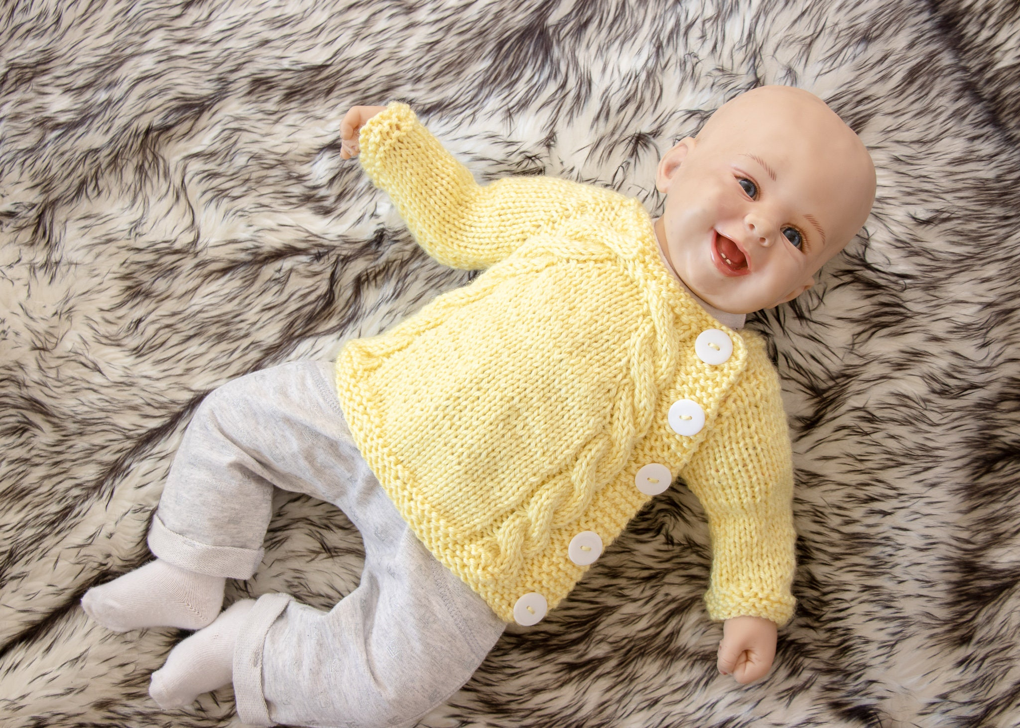yellow Hand Knitted Baby Cardigans Newborn Clothes, Shoes & Accessories