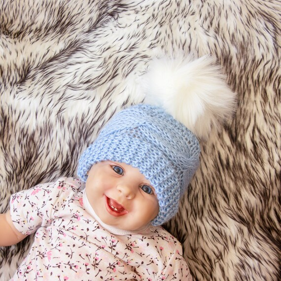2a4ea1d6feb Knitted hat with faux fur pom pom Blue baby hat Baby boy