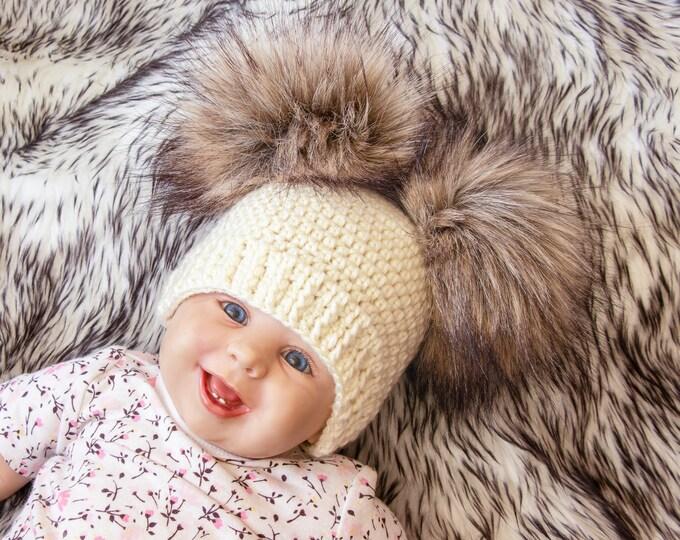 Crochet double pom hat, Fur pom pom beanie, Gender neutral baby hat, Winter hat, Preemie + Toddler + Child + Adult, Matching family beanies