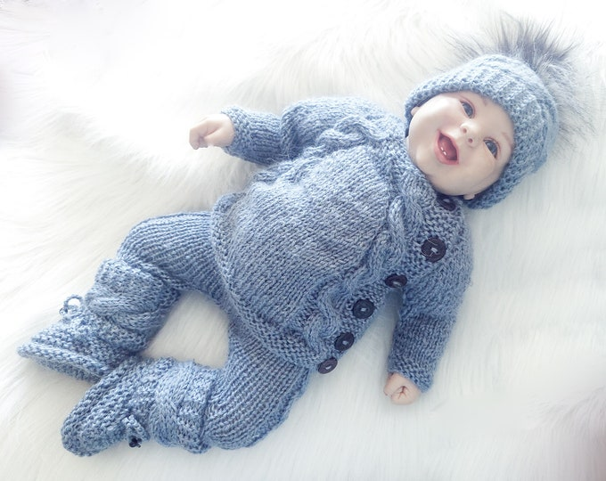 0-3m Hand Knitted Baby boy home coming outfit, Denim melange  baby outfit, Take home baby outfit, Newborn Coming Home Outfit, Ready to ship
