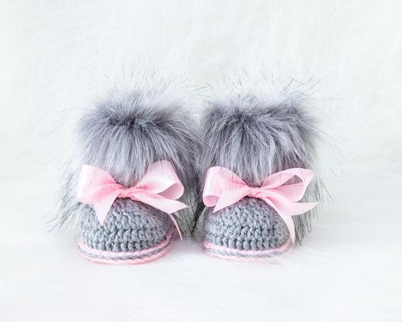 Gray and pink booties Fur booties