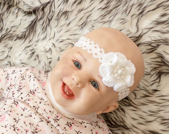 Baby Girl flower Headband, White headband, Crochet headband, Baby girl gift, Newborn Headband, Baby shower gift, Crochet flower headband