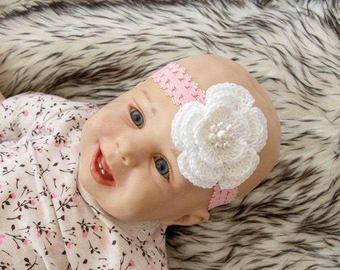 Baby Girl Headband - Crochet headband - Flower headband - Christening - Baptism - Infant Headband - Baby shower gift - Pink baby headband