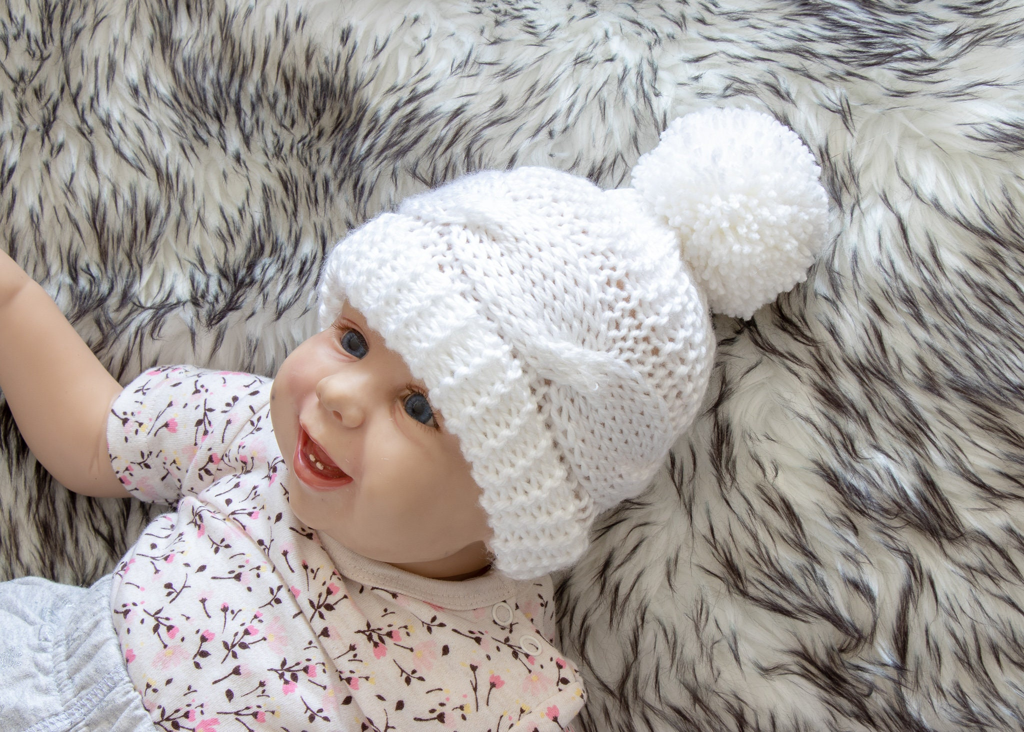 451d3ca555b White baby hat - Baby Hand knitted hat - Cable knit hat - Baby winter hat