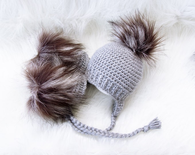 Unisex baby booties and hat, Gray baby faux fur Booties and pom pom Hat, Crochet Baby Hat and Booties, Newborn winter clothes, Preemie baby