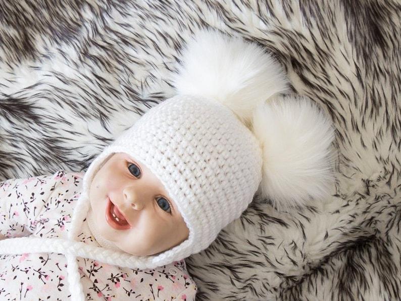 952656671ca White Double pom hat Newborn hat Baby hat Earflap hat