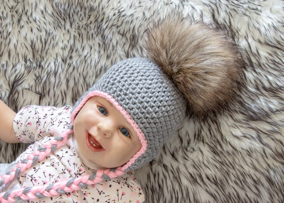 Baby girl hat with fur Pom pom Baby girl earflap hat  718261d9113