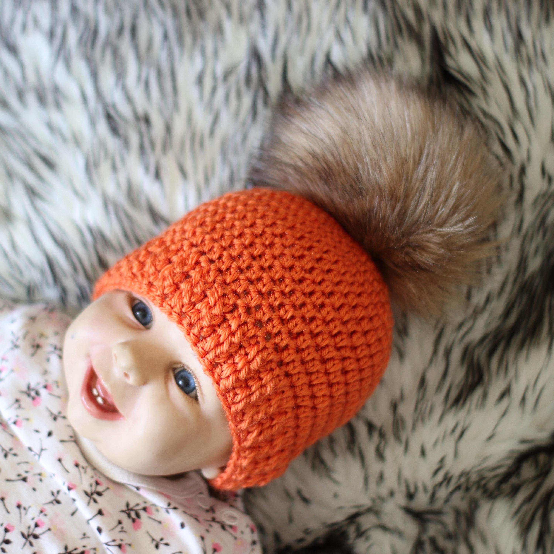 Pom pom beanie - Orange hat - Crochet beanie - Baby hat - Crochet hat 942d06f7581e