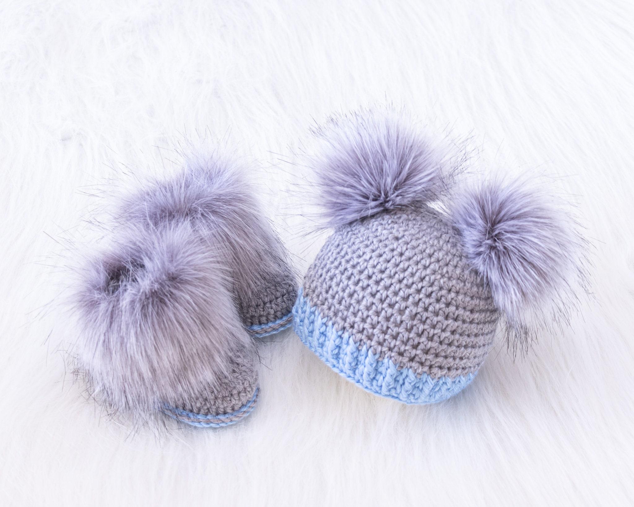 Handmade Crochet Baby Hat booties Preemie Newborn 0-3 months Blue Set