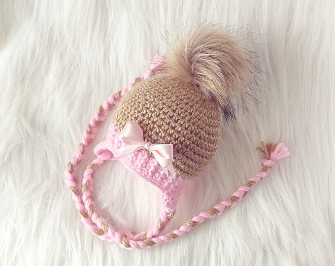 Crochet gold and pink Baby girl pom pom hat with bow, Newborn girl hat, Baby girl gift, Preemie + Toddler + Child + Adult earflap hat