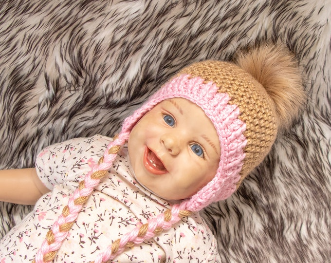Baby girl with faux fur Pom pom, Toddler hat, Crochet baby girl hat, Newborn girl hat, Baby Earflap hat, Baby winter hat, Preemie girl hat