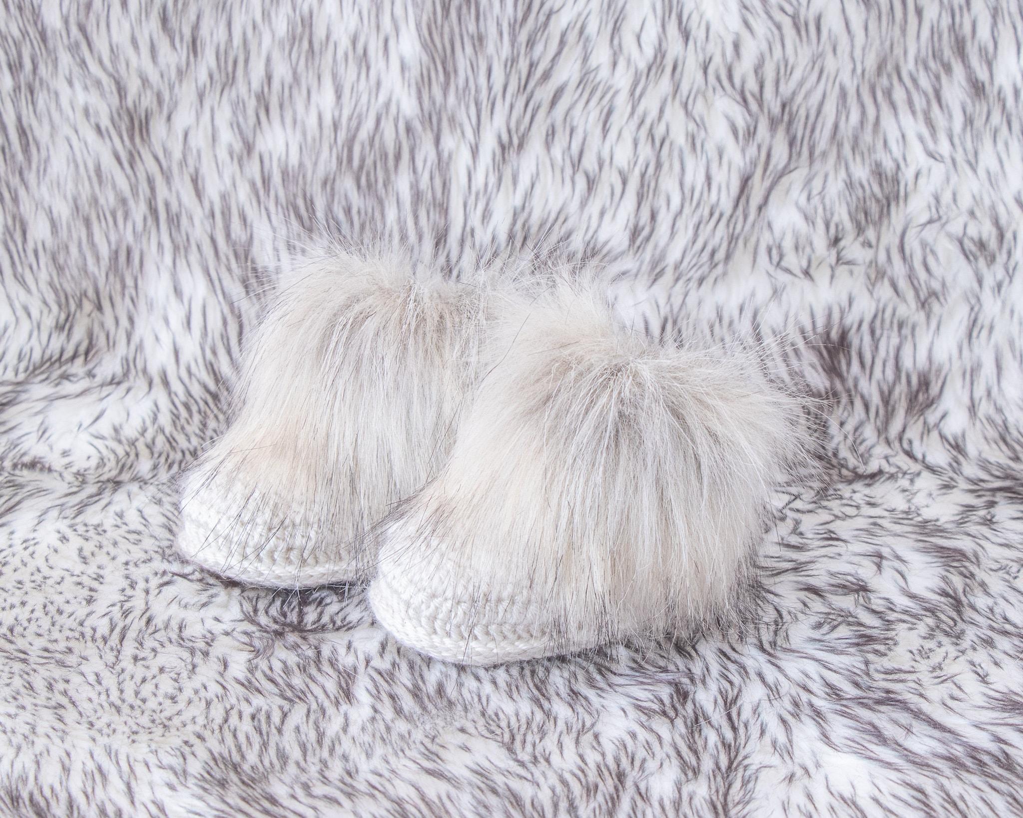 Gender neutral faux fur baby booties