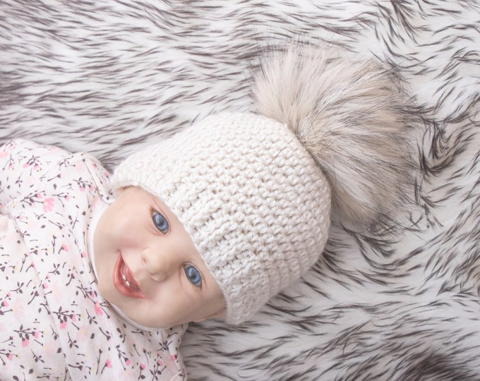 Beige pom pom beanie, Matching family hats, Crochet beanie, Fur pom pom hat, Gender neutral hat, Winter hat, Baby Hat, Kids hat, Baby beanie