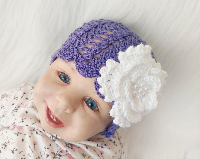 Crochet Beanie with Flower and pearls, Baby girl Hat, Flower hat, Newborn girl hat, Infant Girl Beanie, Baby summer beanie, Crochet sun hat