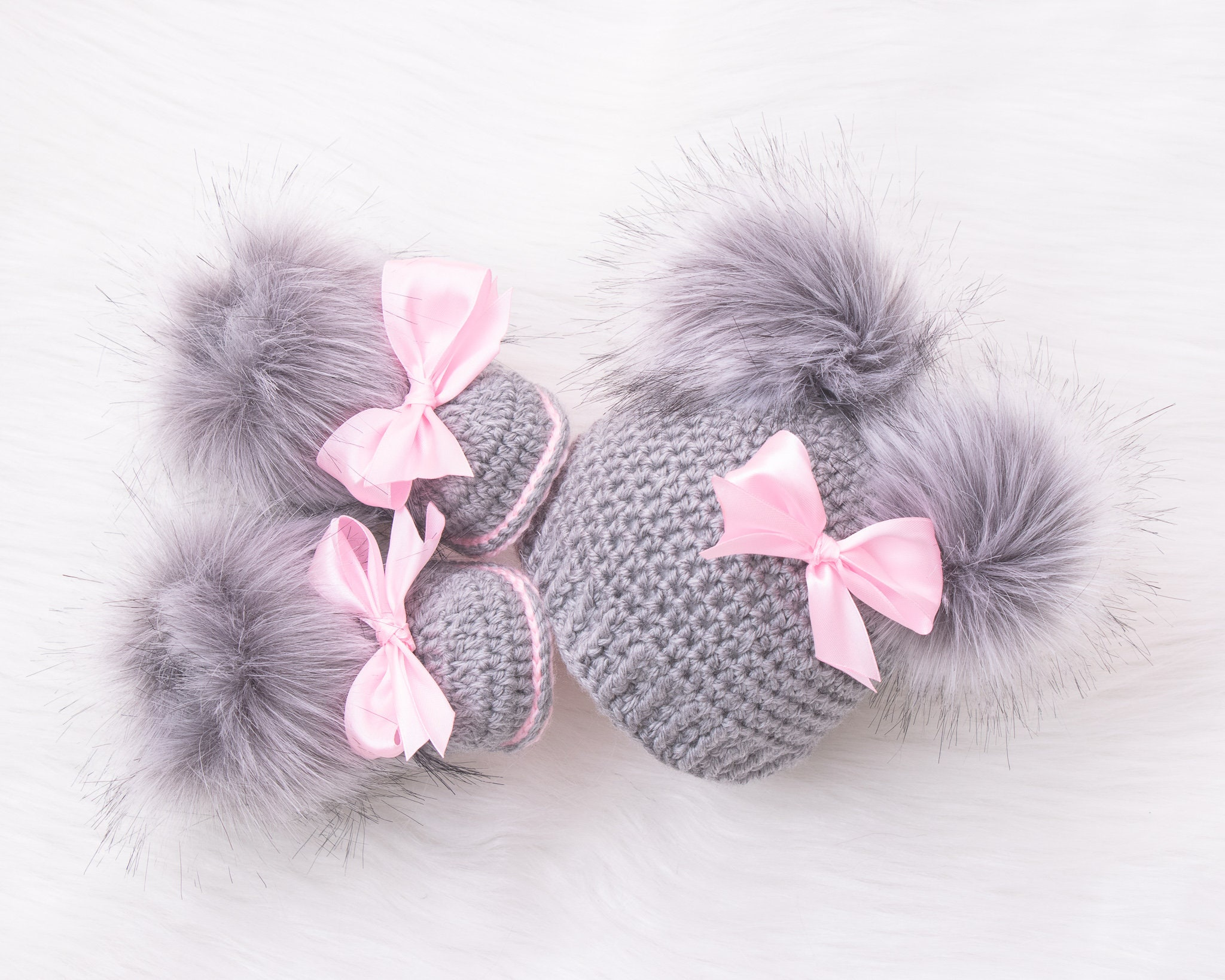 Baby Girls Hat and Booties Set Gift Pink