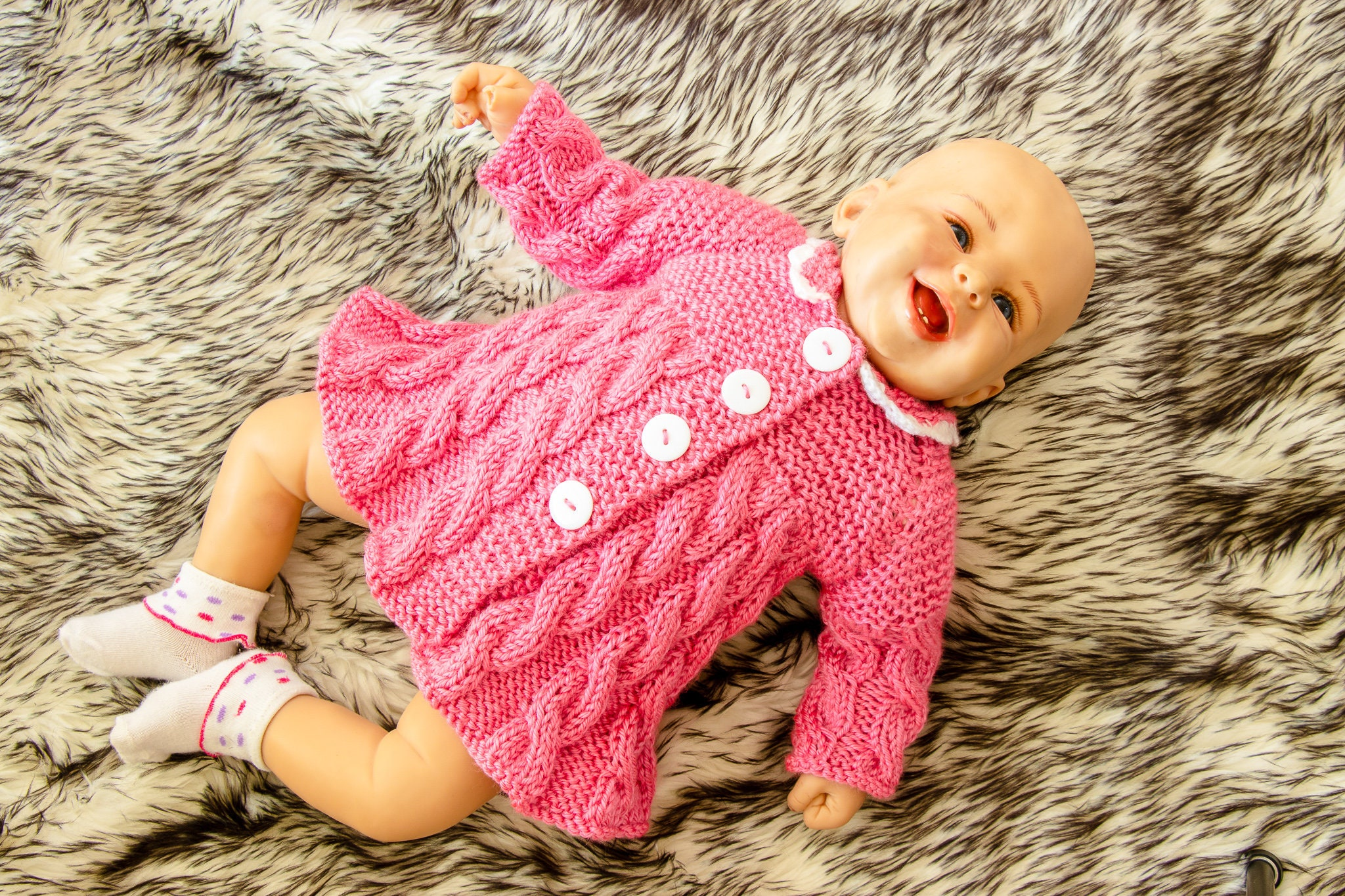 Ready To Ship Raspberry Pink Hand Knit Baby Girl Sweater Baby