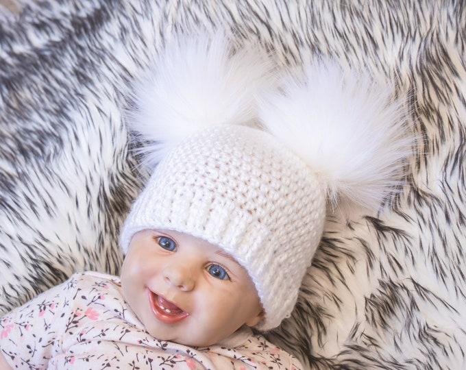 White Faux Fur Double Pom Beanie, Fur Pom pom hat, Bobble hat, Winter hat, Baby Hat, Teens hat, Unisex Adult beanie, Toddler Winter beanie