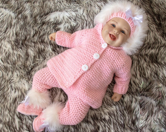 Pink baby girl outfit, Newborn Girl Home Coming Outfit, Pink Layette, Crochet Take Home Outfit, Baby shower gift, Baby girl sweater with fur
