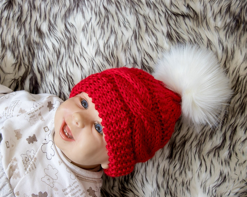 Red Cable Knit baby hat with faux fur pom pom - Baby Christmas ... d092860e14c