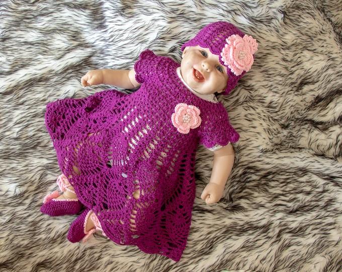 0-3m Crochet girl Dress Set, Baby girl summer clothes, Dress, Shoes and flower hat, Baby girl summer outfit, Baby girl gift, Ready to ship