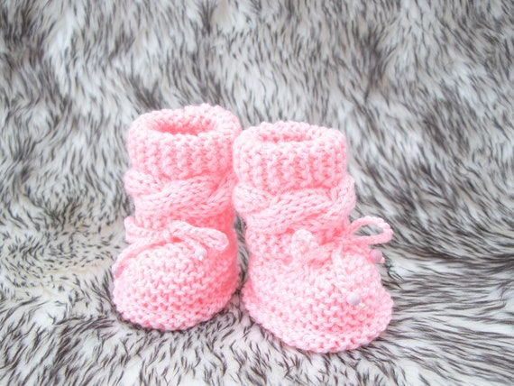 Hand knit pink Baby girl booties Pink