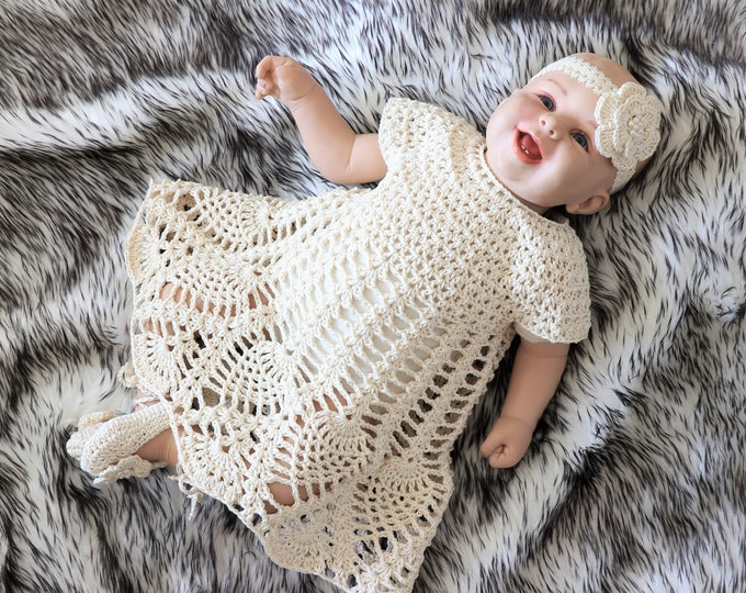Baby Girl Dress Set -  Baby Dress - Baptism set - Crochet Baby Dress - Christening gown - Baby girl clothes - Baby girl gift - Ready to ship