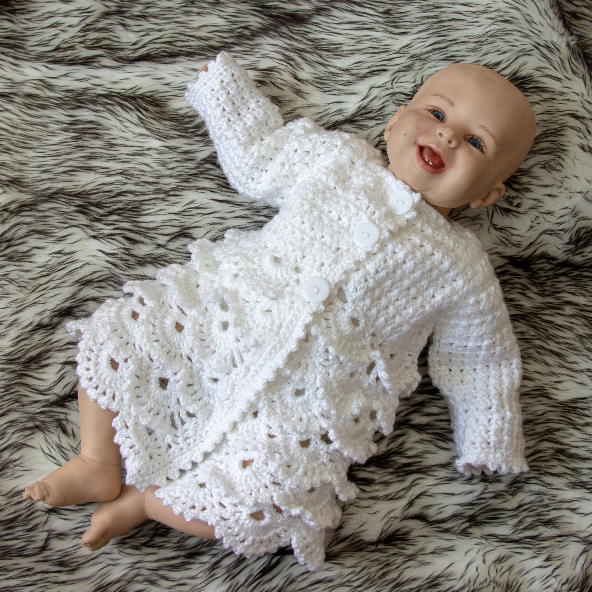 40b5f2f7c Crochet lace baby cardigan - Baby girl jacket - Matinee coat